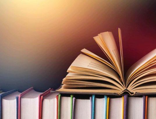 Книжная полка с открытой книгой