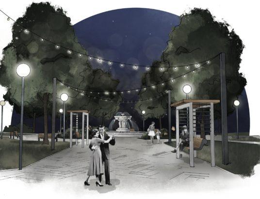 эскиз Петровского парка в Архангельске